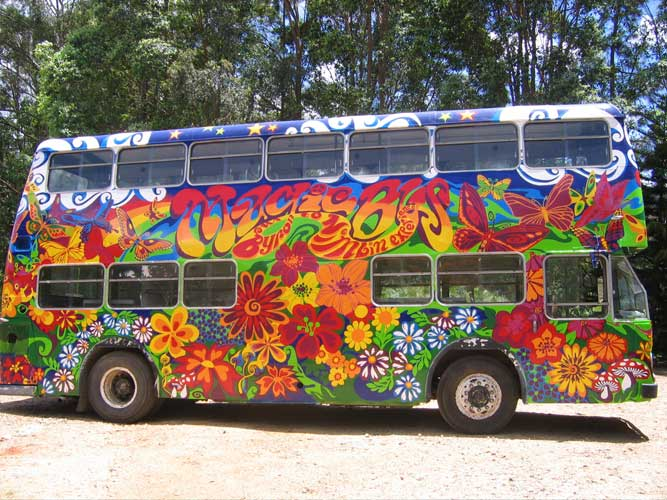 Magic bus byron bay the world s most colourful bus now in service